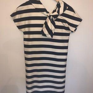 Kate Spade Bow Neck XS Navy Striped Dress